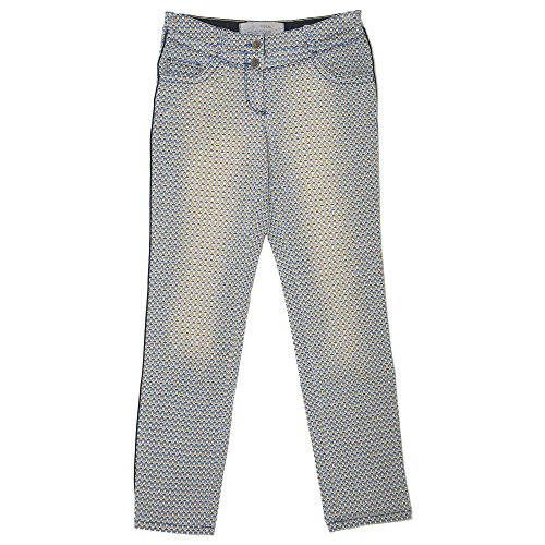 Cecil, Victoria Slim, Damen Jeans Hose, Stretchdenim, blau senfgelb Print, W 34 L 32 [20885]