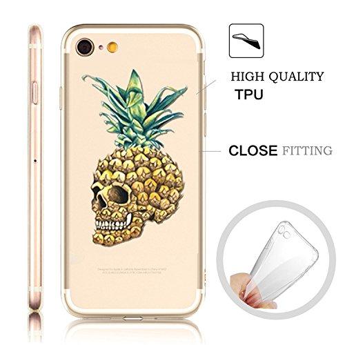 iPhone 6S Plus Transparente Case Cover,MingKun Ultra Mince Transparente TPU Bumper iPhone 6 Plus 5.5 pouces Soft TPU Silicone Clair Transparente Case Cover pour iPhone 6 Plus Clair Étui Housse Ananas  Design 5