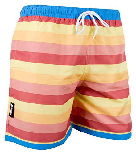 LUVANNI Herren Badeshorts Beachshorts Boardshorts Badehose gestreift Mehrfarbig