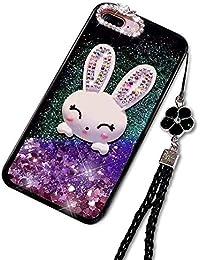 Lila Flüssig Treibsand Hülle für Galaxy S8 Plus,Diamant Handyhülle für Galaxy S8 Plus,Moiky Luxuriös Süß 3D Karikatur Hase Häschen Dekor Stoßdämpfende Schutzhülle mit Gurt