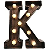 MagiGlow Vintage Style K LED Light up Alphabet Letters, Brushed Bronze