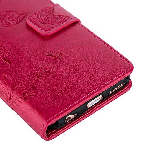 iPhone 5/5S/SE Hülle, OuDu Prägung Muster Hülle Blumen Schmetterling Etui für iPhone 5/5S/SE PU Leder Handyhülle Klapp Buch-Stil Ledertasche Einzigartige Entwurf Tasche Kompletter Schutzhülle Flip Wal Rosa