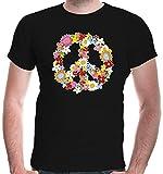 buXsbaum Herren T-Shirt Peace Flower Symbol Frieden Hippie