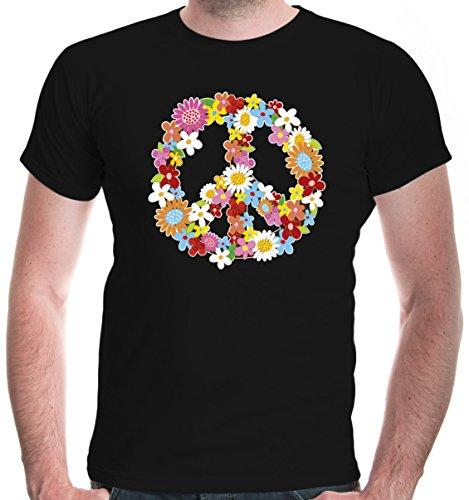 buXsbaum Herren T-Shirt Peace Flower Symbol Frieden Hippie | M, Schwarz