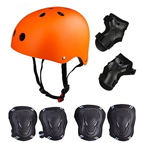 SymbolLife Skateboard / Skate Protektoren Set mit Helmet -- Skate Helmet Knie Pads Elbow Pads mit Handgelenkschoner für Skate, Skateboard, Roller Skate, BMX, Bike und anderen Extreme Sports, M Orange