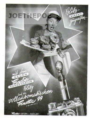 1952 Anzeige / Inserat : FINETTA 99 KAMERA MIT FINELUX KONDENSATOR-BLITZ - Format 95x70 mm - alte Werbung / Originalwerbung/ Printwerbung / Anzeigenwerbung