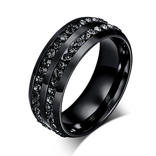 Yc, colore: nero titanio in acciaio con Zirconia cubica, 8 mm-Anello da uomo, titanio, 22, colore: black, cod. Y-TPnjz02-10