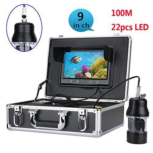 OUT-L 100M professionelle UnterwasserFischerei Video Kamera Fisch Finder 9 Zoll FarbbildSchirm WasserDicht 22 LEDs 360 Grad rotierende Kamera