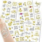 Amteker 76 Pcs Flash Braut Temporäre Tattoos, Metallic Gold Silber Temporäre Tattoos, Wasserdicht...