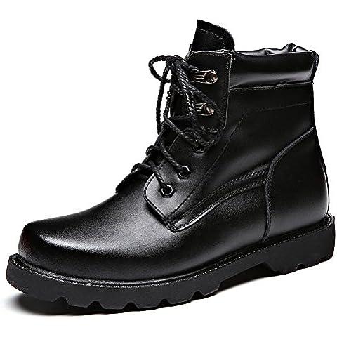 WZG Nuevos cargadores masculinos zapatos al aire libre, además de terciopelo caliente zapatos de herramientas Martin botas de invierno botas de nieve 46 , black , 44