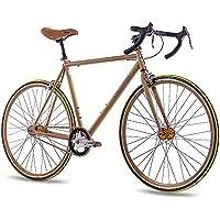 '28pulgadas Fixie CHRISSON FG Road 1.0Bicicleta de carreras Fixed Gear Single Speed Oro Mate, color , tamaño Rahmengrösse: 56cm, tamaño de rueda 28 inches