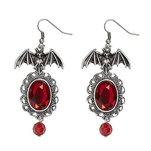 WIDMANN Fledermaus Ohrringe (Rote Kostüm Schmuck)
