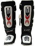 3X Sports Proteges Tibias Shin Instep Pads Protecteur Gardien KickBoxing Foot UFC Pied Boxe Combat Cheville Noir
