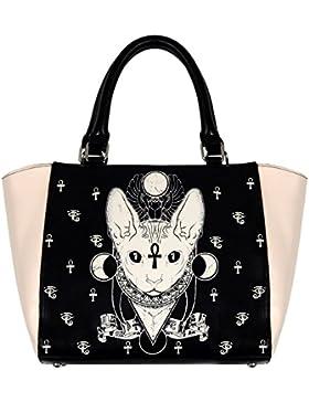 Banned Handtasche Goth Katze schwarz