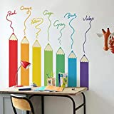 #7: Decal Design Wall Stickers Colorful Color Pencil Designs Vinyl for Nursery School Kids