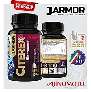 Integratore Citerex di Jarmor 100 cps da 1300 mg  con Arginina Ajinomoto, Citrullina, Lisina e J.Nox Formula Vigore sessuale - Ossido nitrico - Massa muscolare - Rinvigorente