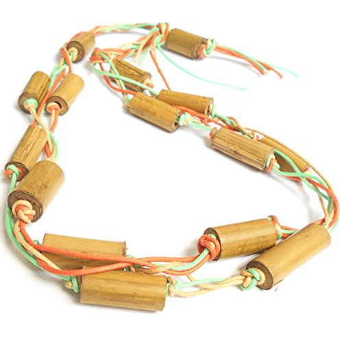 Fashion cum ethnic necklace Yellow bamboo fashion jewellery bead handmade tribal or native multi-color cotton cord natural multistrand artisan fasion statement necklace for women