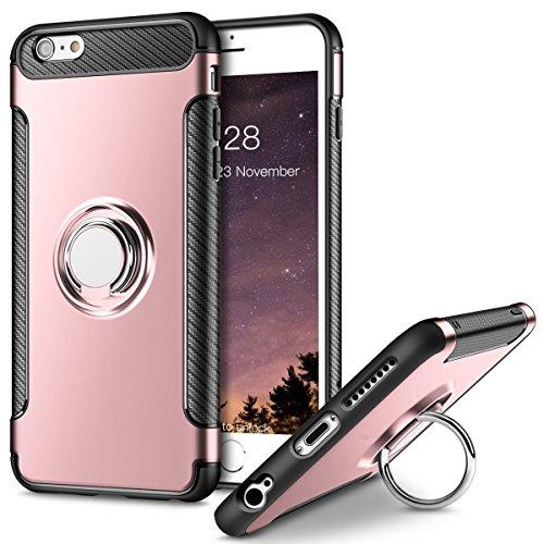 iPhone 6S Plus Hülle , iPhone 6 Plus Handyhülle mit Ring Kickstand - Mosoris Premium Silikon Shell mit 360 Grad Drehbarer Ständer und Handyhalterung Auto Magnet Ring , Dual Layer Stoßfest Rüstung Schutzhülle Bumper Tasche Case Cover für iPhone 6 Plus / 6S Plus , Rosé gold