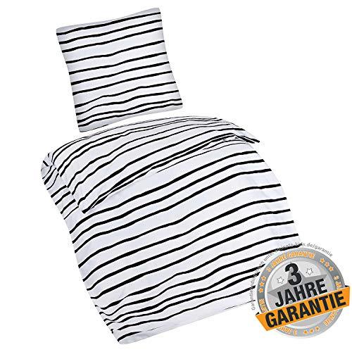Aminata kids Premium Bettwäsche-Set Streifen-Optik 135-x-200-cm Damen, Männer & Paare - Baumwolle - schwarz, weiß gestreift - weich & kuschelig, Reißverschluss, Zebra-Optik, Afrika -
