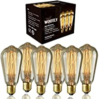 Edison Bulbs of 6 Pack - Wootly Long Life Edison Style Marconi Squirrel Cage Filament Bulb (6, 40 Watt)