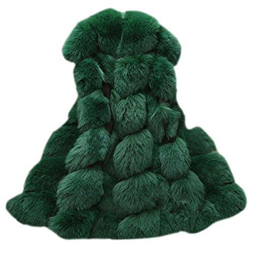 Donne gilet di pelliccia sintetica senza maniche giacche cappotti outwear verde xxl