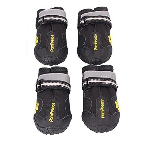 Ularma Imperméable à l'eau Animal de compagnie Bottes pour Médium À Grande Chiens Labrador Husky Chaussures Noir (taille 8)