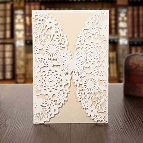 KAZIPA 25 Pack Set Laser Cut Invitation Cards, 12x18cm Lace Invitation Kit for Wedding Bridal Shower Birthday with Printable Paper and Envelopes(White+Ivory)
