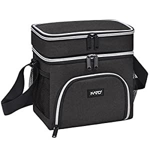 Kato Insulated Lunch Bag, Oxford Cloth Thermos Bento Container Cooler Totes, Dual Compartment with Shoulder Strap, Front and Side Mesh Pockets, Black