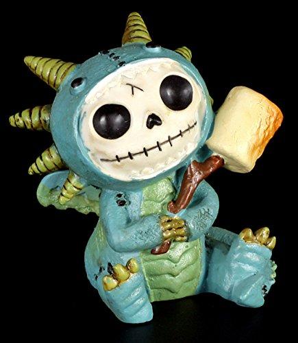 Furrybones Figur | Scorchie mit Marshmallow im Drachen-Kostüm | inkl. Geschenkbox für Sammler | Lustige Deko Totenkopf (Furry Ideen Kostüm)