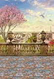 GzHQ Paris Panorama Kulissen 3x5ft Hintergrund Eiffelturm Luftaufnahme Stadt Stein Baluster Landschaft Europäische Reise Gebäude Sonnenuntergang Vintage Bancony Backsteinboden Geburtstagsfeier