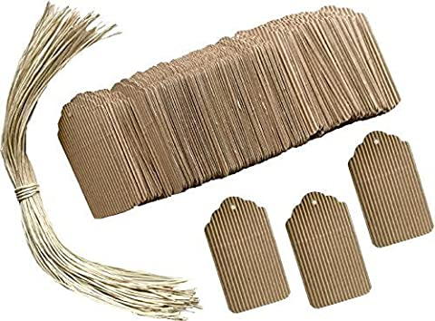 Outside the Box Papers 100 Corrugated Cardboard Tags with Paper Twist String by Outside the Box Papers