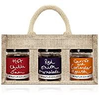 3 x What a Pickle Multi-Pack - Red Onion Marmalade 290g , Hot Chilli Jam 290g & Carrot & Coriander Relish 270g in a Deluxe Canvas Gift Bag