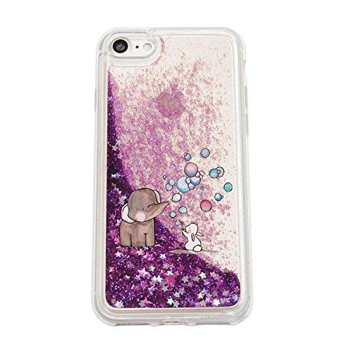 finoo | Iphone 7 Flüssige Liquid Lila Glitzer Bling Bling Handy-Hülle | Rundum Silikon Schutz-hülle + Muster | Weicher TPU Bumper Case Cover | Tweety Happy Elefant Hase Seifenblasen