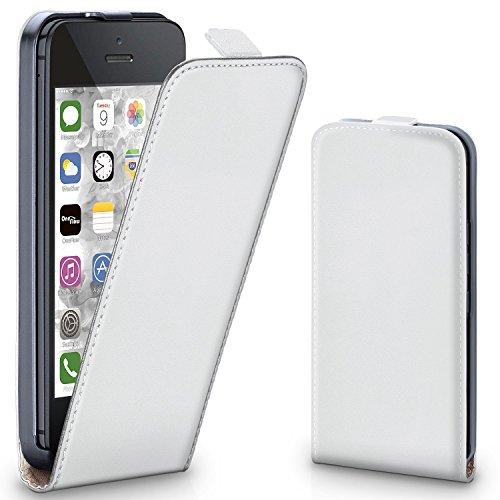 iPhone 5C Hülle Schwarz [OneFlow 360° Klapp-Hülle] Etui thin Handytasche Dünn Handyhülle für iPhone 5C Case Flip Cover Schutzhülle Kunst-Leder Tasche PEARL-WHITE