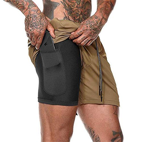 Men'S Compression Shorts, 2 In 1 Running Sports Shorts Quick Drying Breathable with Built-In Pocket Liner for Men