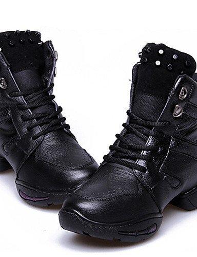 ShangYi Chaussures de danse ( Noir ) - Non personnalisable - Talon bas - Cuir - Moderne Black