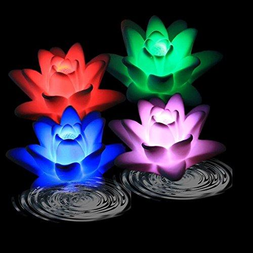 Atcket (set di 4) della batteria alimentato colore?spasmi led impermeabile galleggiante fiore del giglio luce di notte senza fiamma candela