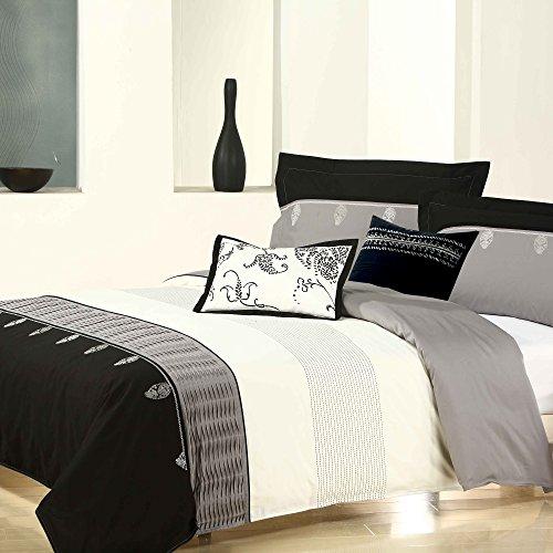 wolle Bettbezug, baumwolle, schwarz / weiß, Queen (Bettbezug Queen Baumwolle Schwarz)
