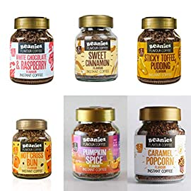 Beanies Flavoured Coffee 6 Jars x 50g ( Sweet Cinnamon, Raspberry & White Choc, Sticky Toffee Pudding, Hot Cross Bun, Pumpkin Spice, Caramel Popcorn)