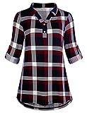 Cestyle Damen Langarmshirt,Frauen Elegant Classic T-Shirts Lange Ärmel Modisch Einfarbig Revers Aufgerollte Hülse Party Rot & Blau Kariert X-Large XL
