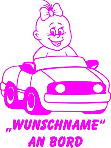INDIGOS UG - Babyaufkleber / Kinderaufkleber 046 mit Wunschname / Wunschtext an Bord ca. 20 cm Höhe - Autoaufkleber in verschiedenen Farben