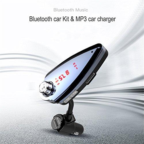 ZYX KFZ Bluetooth Ladegerte Adapter FM Transmitter LED Anzeige Multifunktion USB MP3 Player Hands Free Call Spannungserkennung U Festplatte TF-Karten iPhone Samsung iPad HTC,Silver