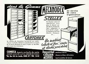 Ad 1955 Armoire Office Furniture Supplies Cartorex Mecanodex Stellex Original-Ad