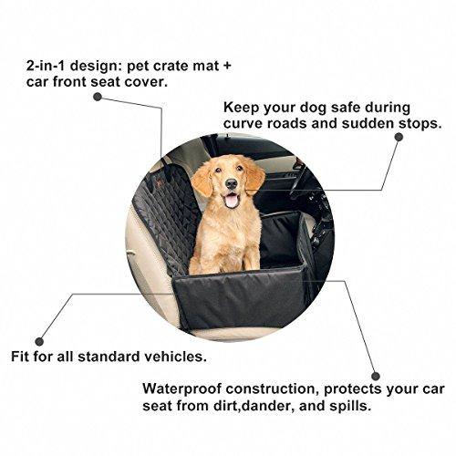 Hundetransportbox Autositzbezug Autoschutzdecke Hängematte Autositz für Haustier Hund Katze Pet Vodersitzbezug (Schwarz) - 3