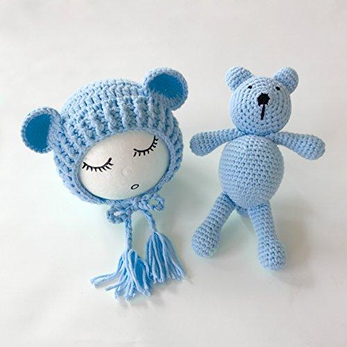 Neugeborene Baby Fotografie Requisiten Boy Girl Crochet Kostüm Outfits Hat Bär Set … (SkyBlue) (Outfits Baby Boy Crochet)