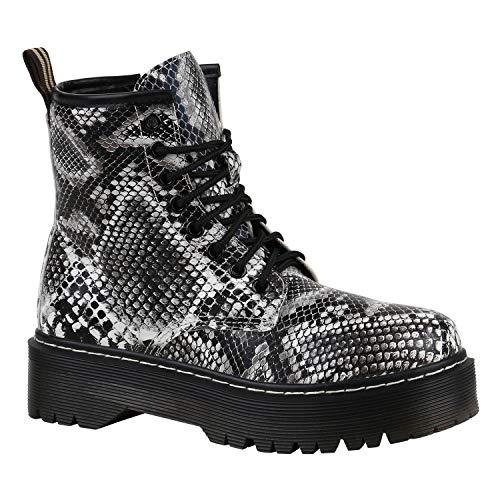 Stiefelparadies Gefütterte Damen Plateau-Boots Profil Sohle Stiefeletten 165982 Schwarz Weiss Schwarz Weiss Muster 40 Flandell