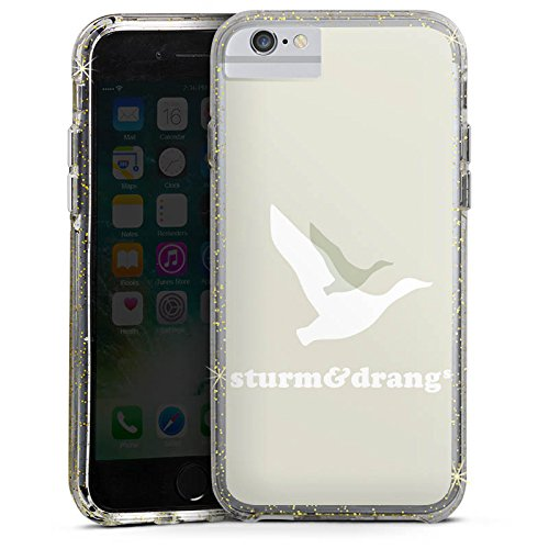 Apple iPhone 7 Bumper Hülle Bumper Case Glitzer Hülle Vogel Bird Fliegen Bumper Case Glitzer gold