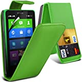 (Grün) Nokia X Custom Designed Stilvolle Accessoires zur Auswahl Schutzmaßnahmen Kunst Credit / Debit-Karten-Leder Flip Case Hülle & LCD-Display Schutzfolie von Hülle Spyrox
