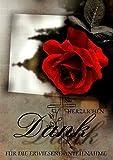 Trauer Danksagungskarten Trauerkarten ohne Innentext Motiv rote Rose 10 Klappkarten DIN A6 mit weißen Umschlägen im Set Dankeskarten Dankeschön Karten Kuvert Danke sagen Beileid K106