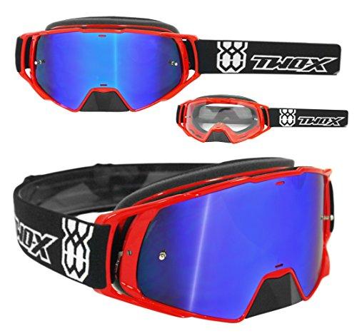 TWO-X Rocket Crossbrille rot Glas verspiegelt blau MX Brille Nasenschutz Motocross Enduro Spiegelglas Motorradbrille Anti Scratch MX Schutzbrille Nose Guard